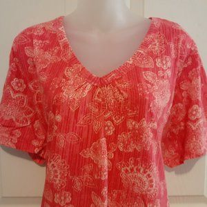 Woman Within pink floral tunic top 2X New Cotton